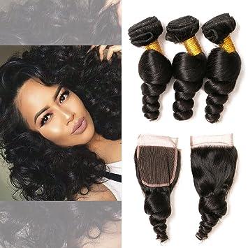 Amazon.com   Lace Closure Brazilian Loose Wave 3 Bundles on Sale  Unprocessed Virgin Remy Lace Front Weave Bundles with Closure for African  American 12 14 16 ... d44ff914e6fa