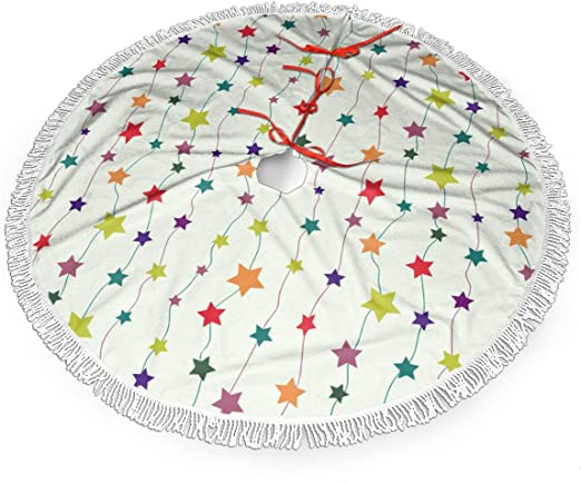 Falda de árbol de Navidad de 30 Pulgadas con Estrellas de Colores ...