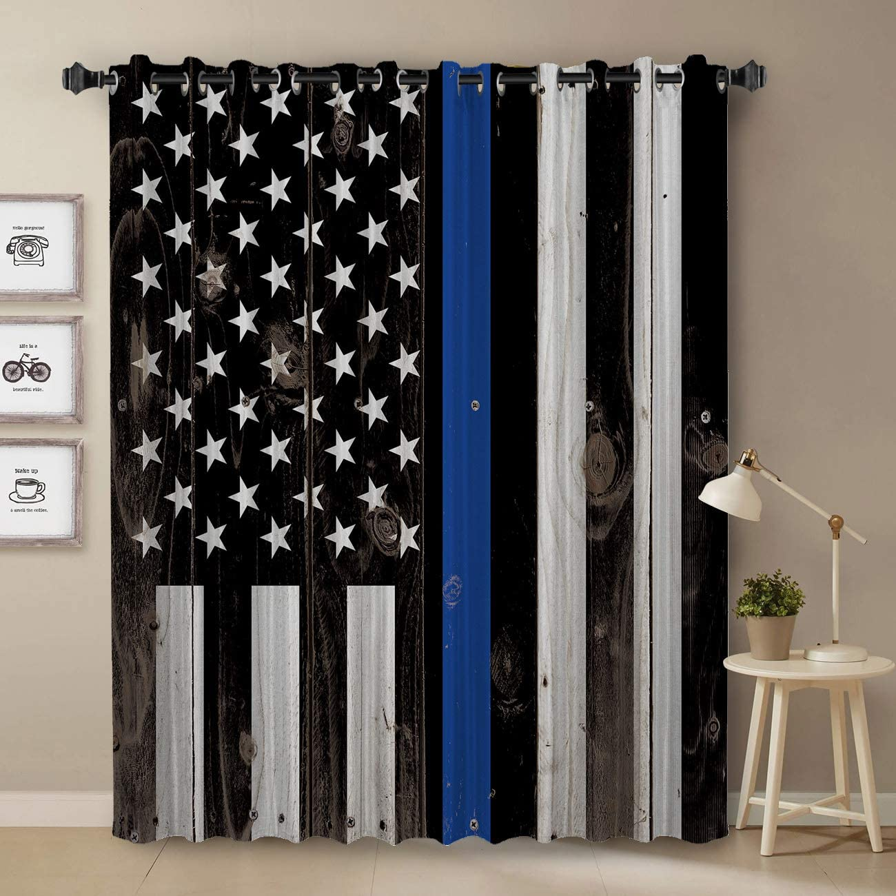Police Curtain, Rustic Thin Blue Line US Flag Curtain for Bedroom, Room Darkening Blackout Curtain for Living Room Thermal Insulated with Grommet Window Curtain, 52 by 63 Inch