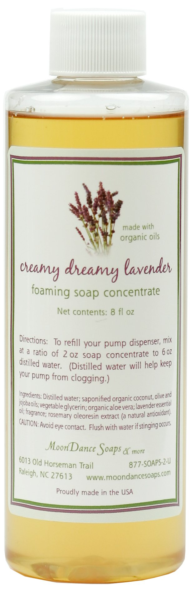 Lavender Foaming Hand Wash Refill by MoonDance Soaps - Fabulous Foaming Castile Soap Concentrate with Aloe Vera and Essential Oils, 8 Fl. Ounce