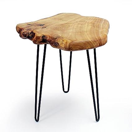 WELLAND Live Edge Cedar Wood End Table Rustic Side Table Mid Century Modern