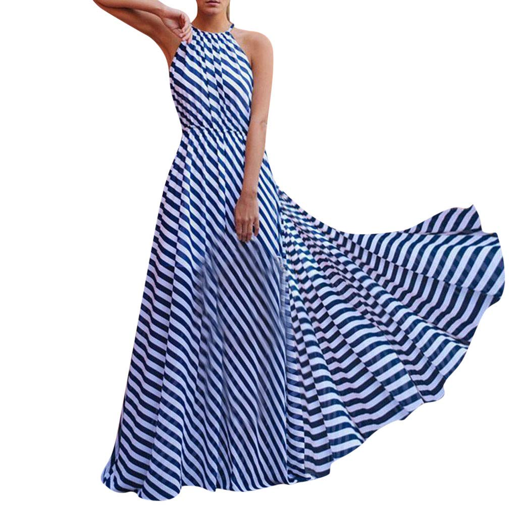 Mikilon Women's Sleeveless Racerback Sleeveless Loose Stripe Maxi Dresses Casual Long Dresses with Belt Blue
