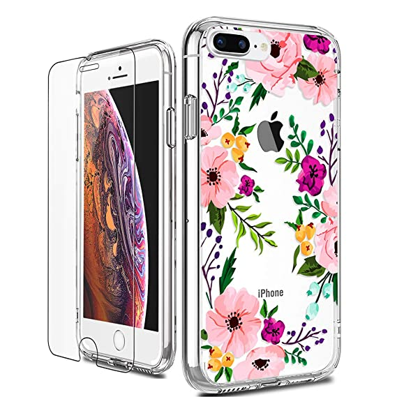 ff9a43f030 iPhone 8 Plus Case, LUHOURI Clear iPhone 7 Plus Case with Screen Protector,  Girls Women Heavy Duty Protective Hard Case with Slim Soft TPU Bumper  Silicone ...