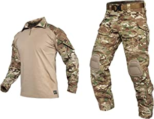 PAVEHAWKE G3 Camouflage Clothing Suit with Knee Pads for Men Tactical Hunting Uniform Set Paintball Gear