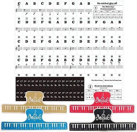 Pegatinas Para Pianos O Teclados Pegatinas Para Teclados Etiqueta Engomada Del Teclado De Piano Pegatina Teclado Electrónico Para 37/49/54/61/88 Teclas Y 4 Pinzas De Música Para Partituras: Amazon.es: Instrumentos musicales