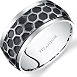 Revoni Mens Two Tone Hexagon Pattern Titanium Wedding Band Ring 10mm Sizes N-Z+2