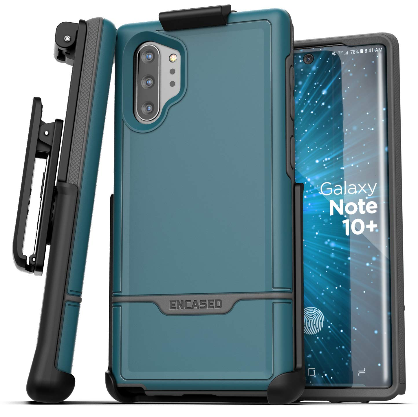 Encased Galaxy Note 10 Plus Belt Clip Protective Holster Case (2019 Rebel Armor) Heavy Duty Rugged Full Body Cover with Holder Ocean Blue (Samsung Note 10+) by Encased