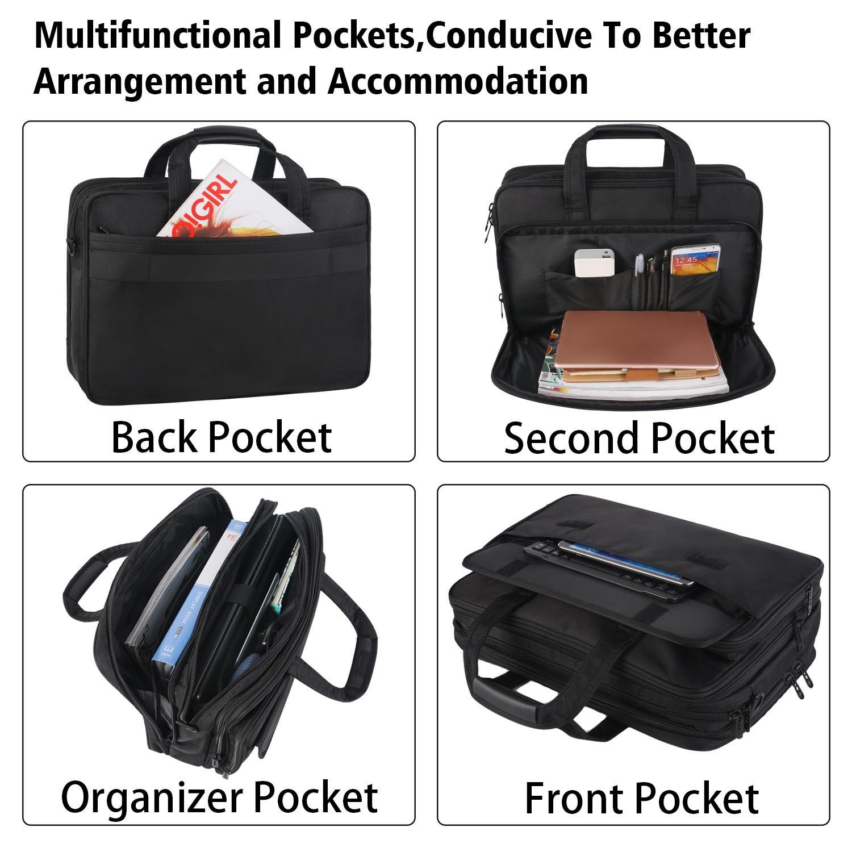 17 inch Laptop Bag,Expandable Briefcase Large Capacity Computer Bag for Women & Men,Oxford Nylon Fabric Shoulder Bag, Water Resistant Durable Messenger Bag Case for HP DELL 15 15.6 inch Laptop -Black by Ytonet (Image #2)