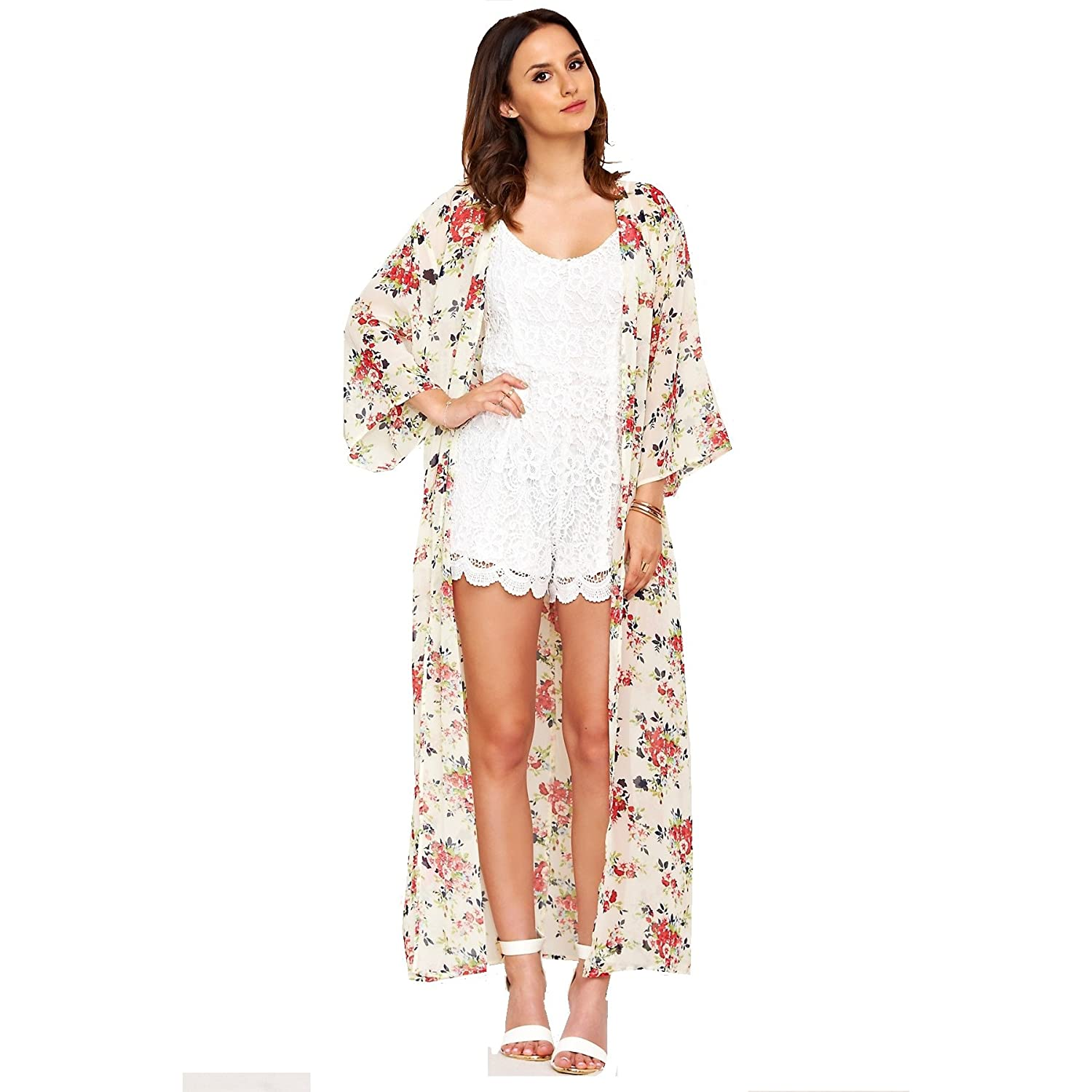b0df35ff8 Celebrity Lucy Watson Floral Print Long Chiffon Kimono US Size 4-12 at  Amazon Women's Clothing store: