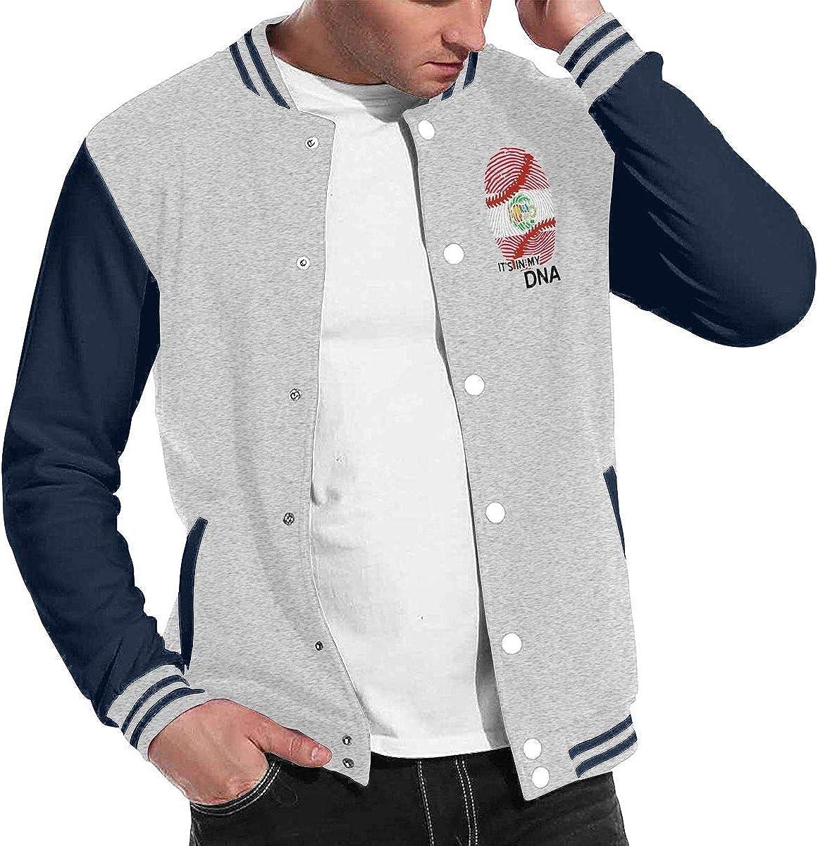 Men Women Varsity Premium Jacket Sport Coat Peru Flag Baseball in My DNA Baseball Jacket Uniform