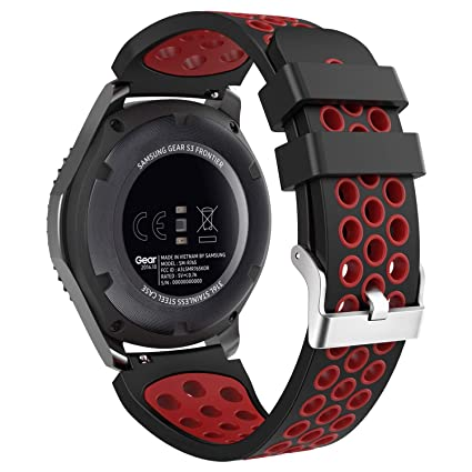 MoKo Band Compatible with Samsung Gear S3/Gear S3 Frontier/Classic/Galaxy Watch 46mm/Ticwatch E2/S2/pro/Huawei Watch GT 46mm, 22mm Perforated Silicone ...