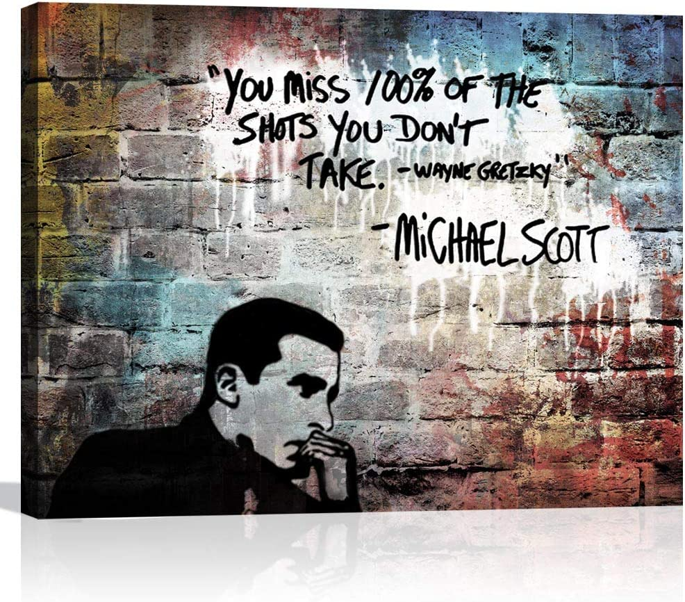 Inspirational Wall Art Motivational Poster for Office Wall Decor Michael Scott Quote Framed Abstract Blue Canvas Art for Living Room Bedroom Farmhouse Decor Rustic 12x16