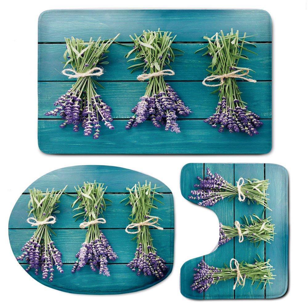 3 Piece Bath Mat Rug Set,Lavender,Bathroom Non-Slip Floor Mat,Fresh-Lavender-Bouquets-on-Blue-Wooden-Planks-Rustic-Relaxing-Spa-Decorative,Pedestal Rug + Lid Toilet Cover + Bath Mat,Sky-Blue-Lavender-