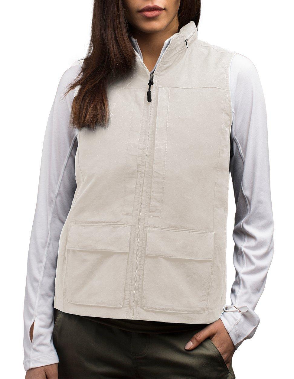 SCOTTeVEST Women's Q.U.E.S.T. Vest - 42 Pockets – Photography, Travel Vest (Large, Beige)