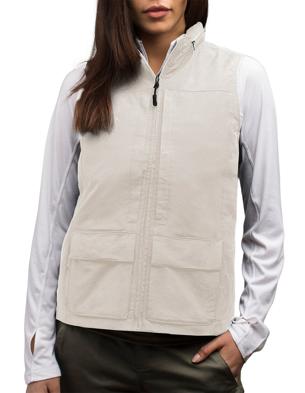 SCOTTeVEST Women's Q.U.E.S.T. Vest - 42 Pockets – Photography, Travel Vest (Large, Beige) by SCOTTeVEST