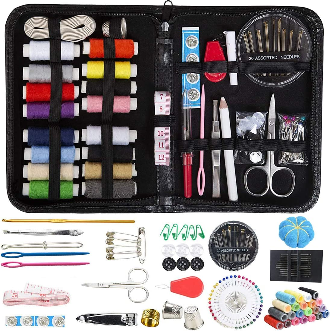 25 Mini Travel home Sewing Kit Set Thread Thimble Measure Tape Scissors Tool