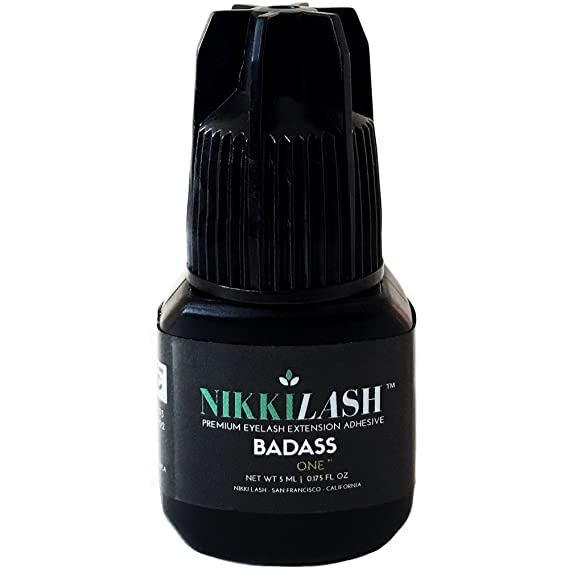 BADASS Strongest Bond Latex-Free Eyelash Extension Glue By NIKKILASH - Extra Strength Bonding Ingredients Found In Medical-Grade Adhesives - Strong Hold Up To 7 Weeks & Fast Dry Time 2-3 Second - 5ML