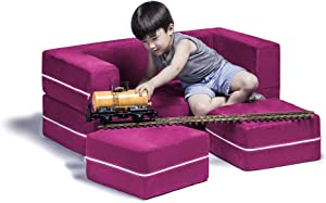 Jaxx Zipline Kids Modular Loveseat & Ottomans/Fold Out Lounger, Fuchsia