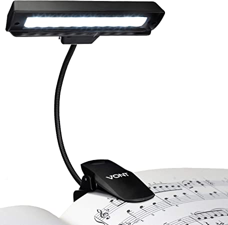 Vont Clip On Book Light, Rechargeable Stand Light, Made from 10 LEDs, Orchestra Lamp with Adjustable Neck, Use as: Reading Light, USB Desk Lamp & More