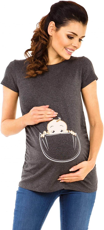 501c Zeta Ville Womens Maternity T-Shirt Shirt Top Funny Baby Peeking Print