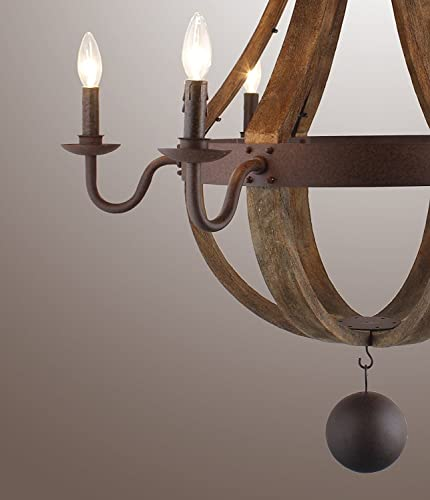 34 Inches Farmhouse Wood Rustic Chandelier Pendant Ceiling Light Fixture French Country Wood Metal Wine Barrel Foyer 6 Light Heads Rustic Iron