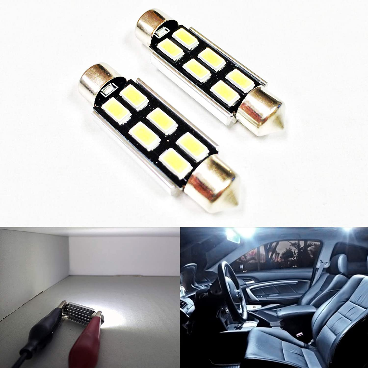 SOCAL-LED 2x 3022 31mm Festoon LED Bulbs Canbus 6W High Power Bright SMD 5730 Interior Dome Light, Map Light, Red