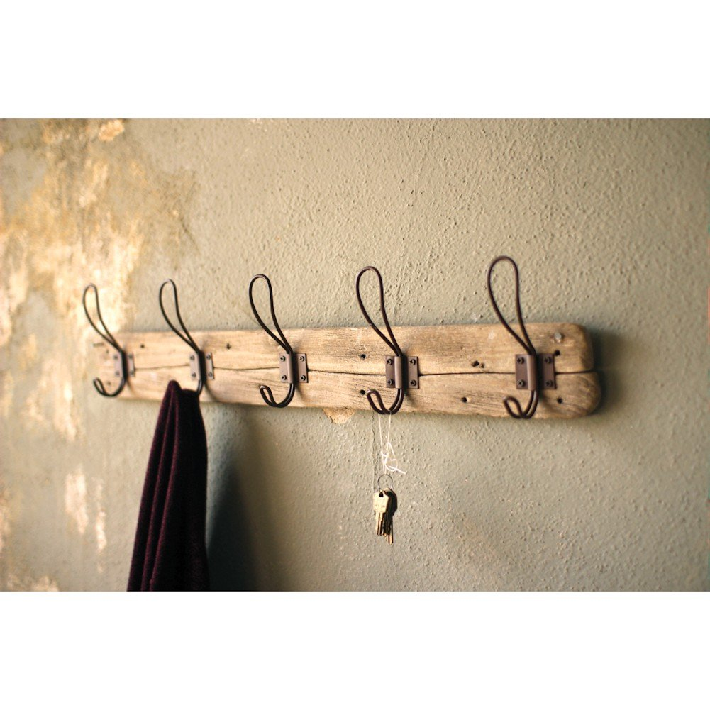 Entryway Rustic Style 5 Hook Wall Mount Wooden Coat Rack, Brown, Large, 26'' x 5.5''