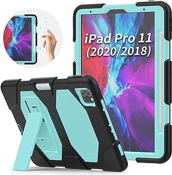 Funda SEYMAC para iPad Pro 11 2020&2018,funda protectora resistente a las caídas híbrida de 3 capas con soporte incorporado y soporte para bolígrafo, compatible con Apple Pencil 2 Charging,azul claro: Amazon.es: Informática