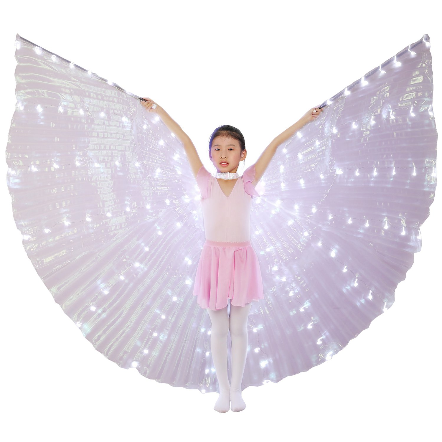 Dance Fairy Belly Dance Child LED Angel Isis Wings with Flexible Sticks (White-Child)