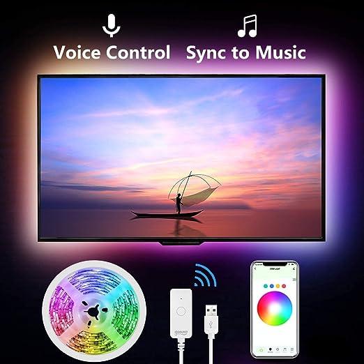 Gosund - Tira de luces LED inteligentes por WiFi, regulables, RGB que cambia de color para televisor (2,8 m) con USB, funciona con Alexa Google Home, sincronización con música: Amazon.es: Iluminación