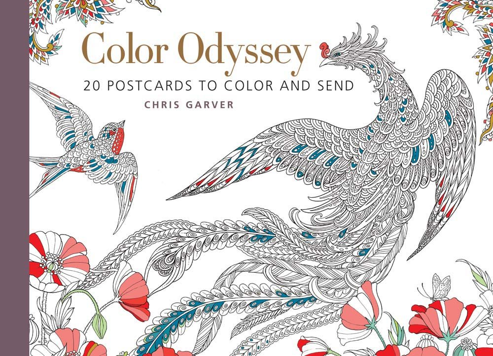 amazoncom color odyssey postcard book 20 postcards to color and send 9781942021612 chris garver books