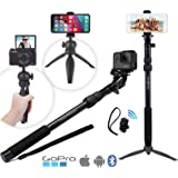 Rugged 4-in-1 Selfie Stick Tripod Stand Kit + Bluetooth Remote – Universal: Any iPhone, Android, GoPro or Camera…