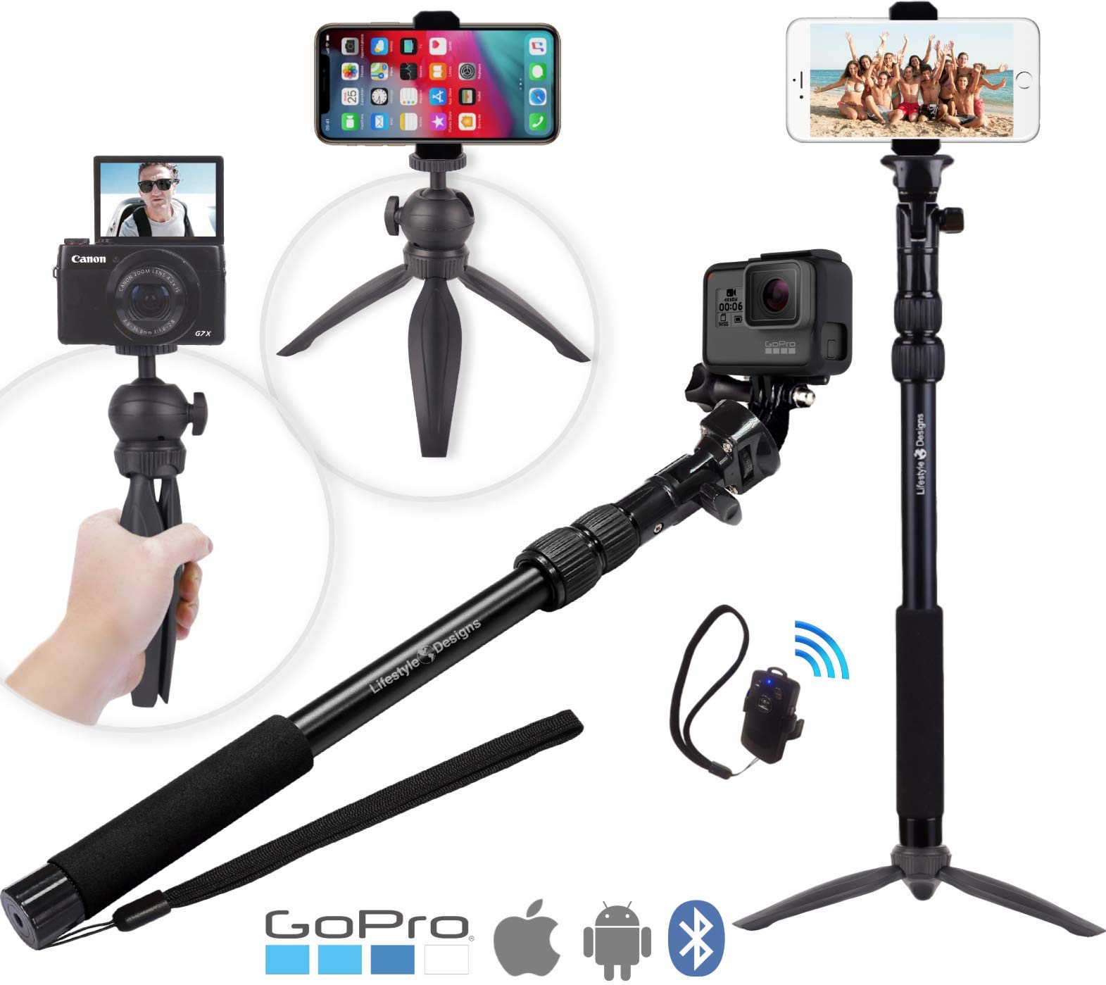 Premium HD Rugged 4-in-1 Selfie Stick Tripod Stand Kit + Bluetooth Remote - Universal: Any iPhone, Android, GoPro or Camera - iPhone Xs Max XS XR X 8 7 6 Plus, Samsung S9 etc. | Best Gift Pack by LifeStyle Designs