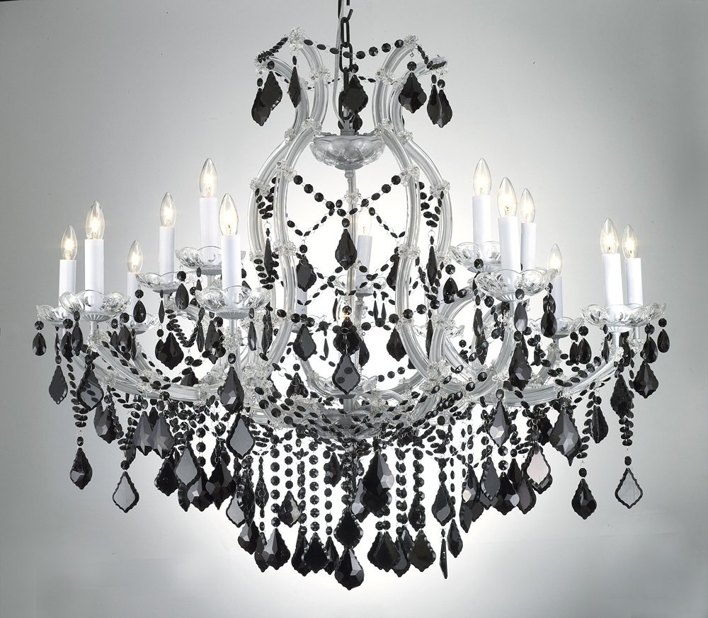 New maria theresa chandelier crystal lighting h38 x w37 w jet maria theresa chandelier crystal lighting h38 x w37 w jet black crystal black and crystal chandelier amazon arubaitofo Choice Image