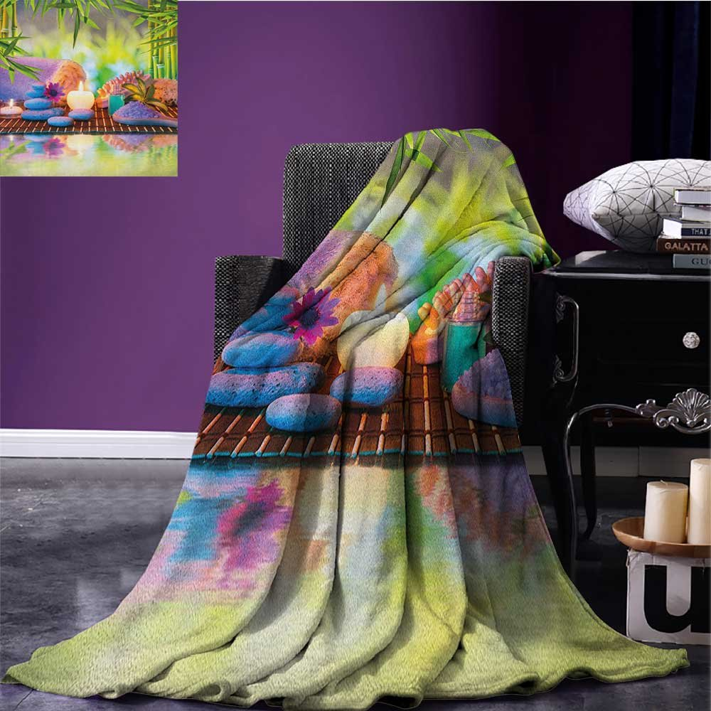 Spa summer blanket Stones with Candles Spiritual Eastern Yoga Relaxation Meditation Chakra Bamboos Print Flannel Multicolor size:51''x31.5''