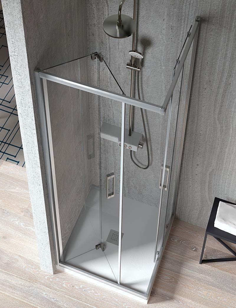 Mampara de Ducha Angular - 2 Hoja Fija y 2 Puerta Corredera - Cristal de Seguridad de 6 mm - Modelo Trescientos Variant (70 X 90): Amazon.es: Bricolaje y herramientas