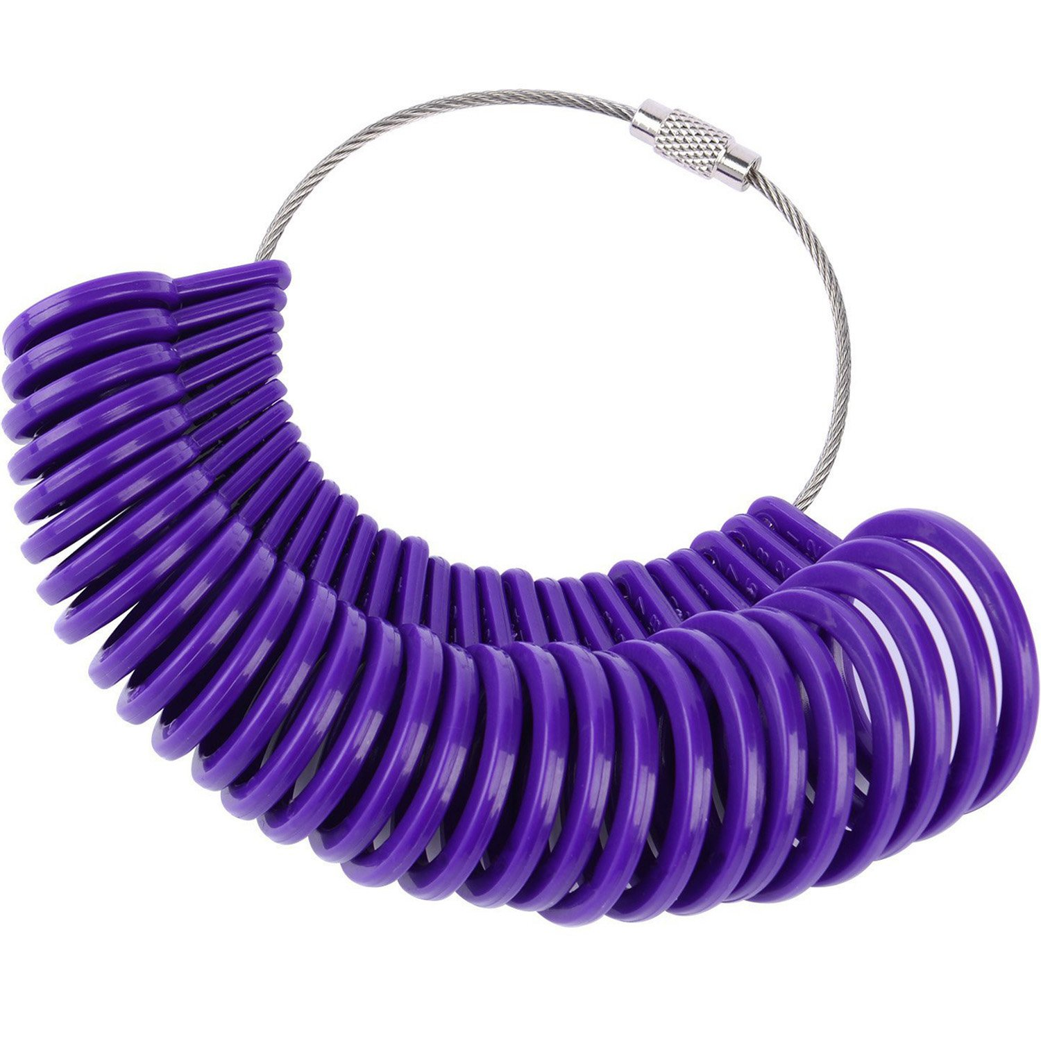 27 Pieces Plastic Ring Sizer Gauges A-Z Finger Sizer Measuring Ring Tool Jewellery Kit (Purple) Shappy Others