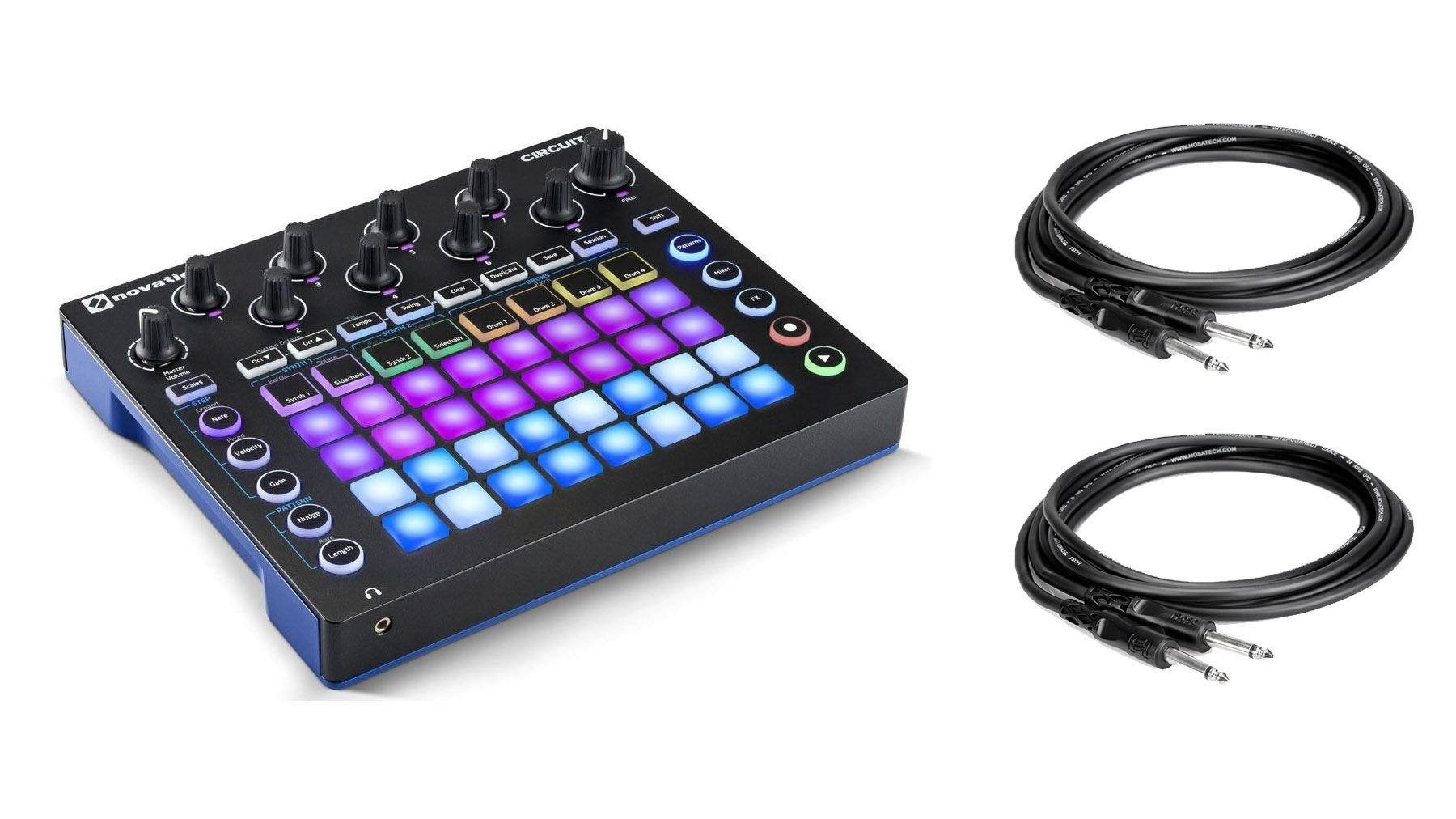 Novation Circuit GrooveBox + Sample Import Bundle with 2 1/4'' Instrument Cables (3 Items)