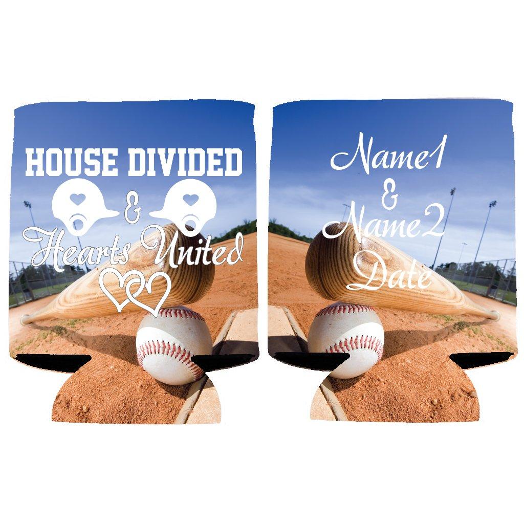Custom Baseball Wedding Can Cooler - House Divided Hearts United (250)