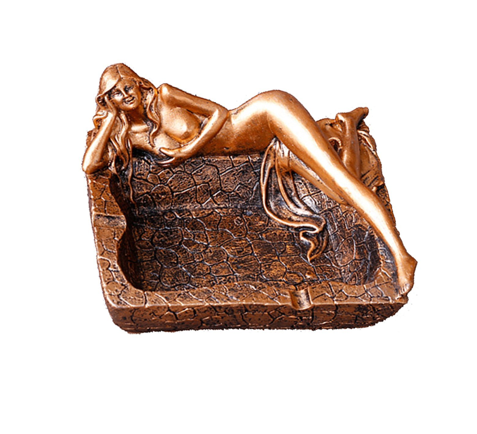 C & S Cigarette Ashtray Vintage Beauty Naked Women Resin Statue, Ash Holder for Smokers, Tabletop Smoking Ash Tray for Home Bar Decoration, Creative Gift (Bronze)