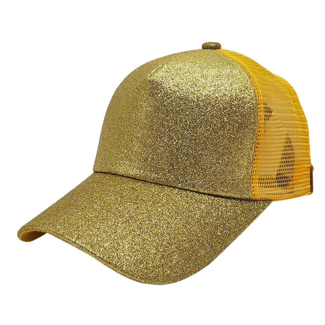 2018 Snapback Hut Sun Caps GreatestPAK Damen Pferdeschwanz Baseball Cap Pailletten Shiny Messy Bun
