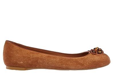 7834a1588 Gucci Women's Suede Ballet Flats Ballerinas Softy tek Nappa Moorea Brown UK  Size 7 338863 CBB50
