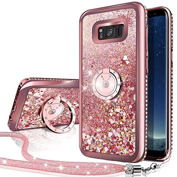 hot sale online 3df90 8ccba Galaxy S8 Active Case, Silverback Moving Liquid Holographic Sparkle Glitter  Case with Kickstand, Bling Diamond Rhinestone Bumper Slim Samsung Galaxy ...