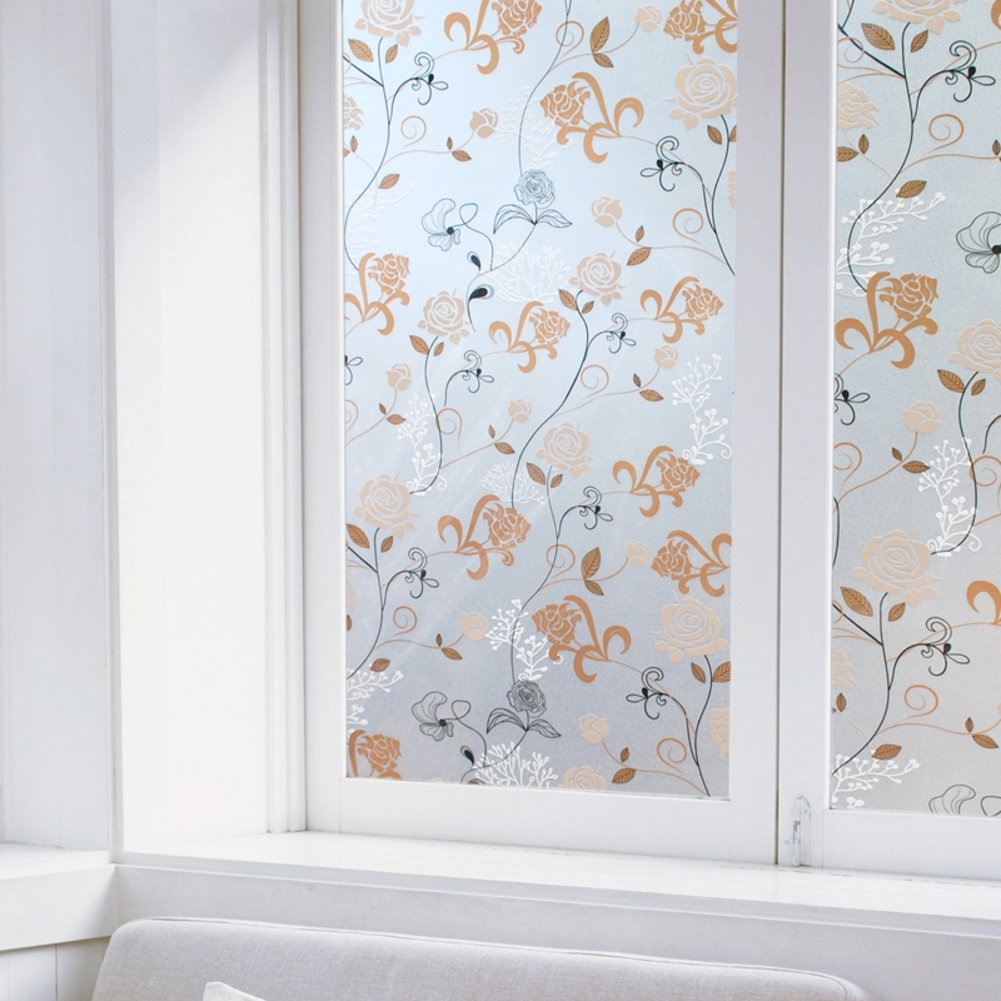 YQ WHJB Self adhesive Window films,Frosted glass film,Decorative Explosion proof Kitchen Sliding door Wall sticker Decal-A