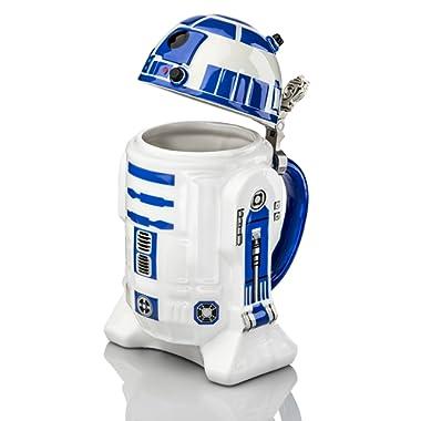 Star Wars R2-D2 Stein - Collectible 32oz Ceramic Mug with Metal Hinge