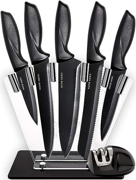 HomeHero Juego de 5 Cuchillos de Cocina con Soporte y Afilador | Utensilios de Acero Inoxidable para Cocineros Profesionales y Aficionados | Cuchillo ...
