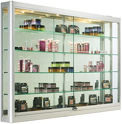 Silver Aluminum Glass Display Cabinet, 60 X 39 1/2 X 6