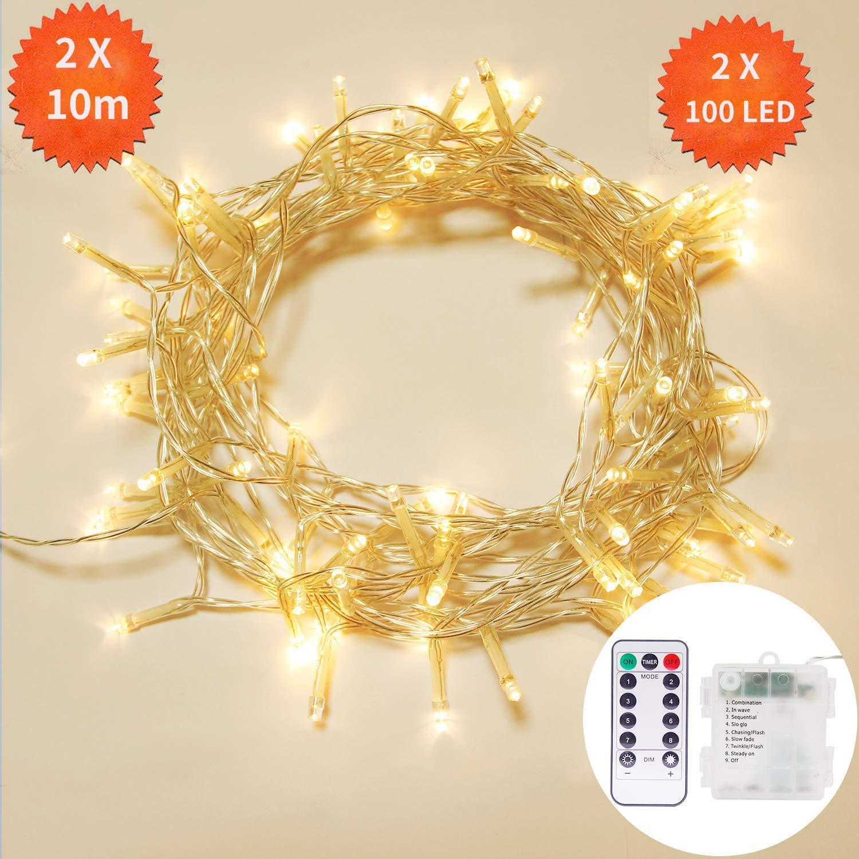 2 Pezzi 10m Catene Luminose,OxyLED 2X100 LED
