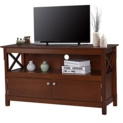 TANGKULA Wood TV Stand Modern Multipurpose Home Furniture Storage Console  Entertainment Media Center Brown