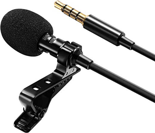 "Professional 3.5mm Lavalier Lapel Microphone Omnidirectional Mic with Metal Clip for Recording YouTube Vlogging Video Conference Call Compatible with Cell Phone Tablet PC Computer 60"" Cord by Insten"